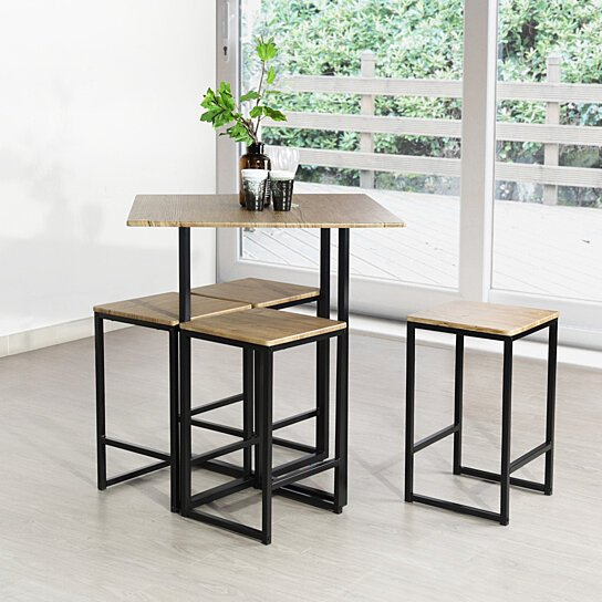 Dining Table Chair Set Kitchen Dining Table with 4 Dining Chairs Set of 5