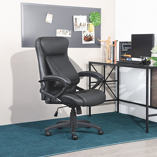 online retailer 5d426 36b9f Executive Office Chair Ergonomic Mid Back Leather-Padded Desk Chair with  Armrest