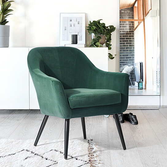Green Accent Chair Soft Living Room Arm Chair Side Chair with Cusion
