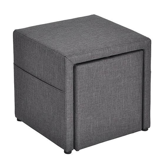 Sensational Home Foot Stool Gery Fabric Storage Ottoman Dailytribune Chair Design For Home Dailytribuneorg