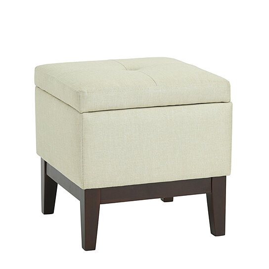 Swell Home Ottoman Pouf Stool Cover Storage Fabric Wooden Foot Stool Beige Gmtry Best Dining Table And Chair Ideas Images Gmtryco