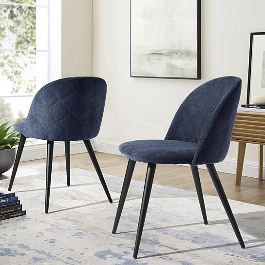 . Home Side Chairs Dining Chairs Living Room Parson Wingback Chair Set of 2  Dark Blue