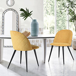 Home Side Chairs Dining Chairs Living Room Parson Wingback Chair Set of 2 Yellow