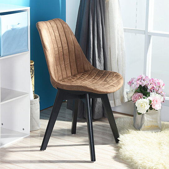 Retro Dining Room Chair Set Wooden Legs Back Pu Leather Seat Suede Front Of 4
