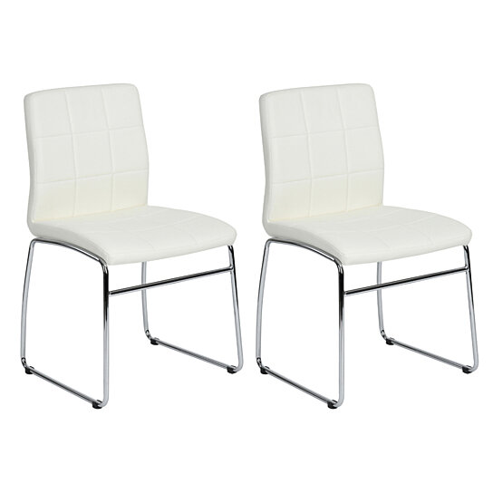Side Dining Chairs PU Leather Stronge Metal Legs Kitchen Furniture Set of 2