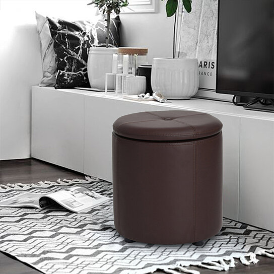 Storage Ottoman PU Foot Rest Stool for Living Room