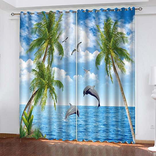 Beach Series Printed Curtains Living Room Bedroom Blackout Curtains curtain  782
