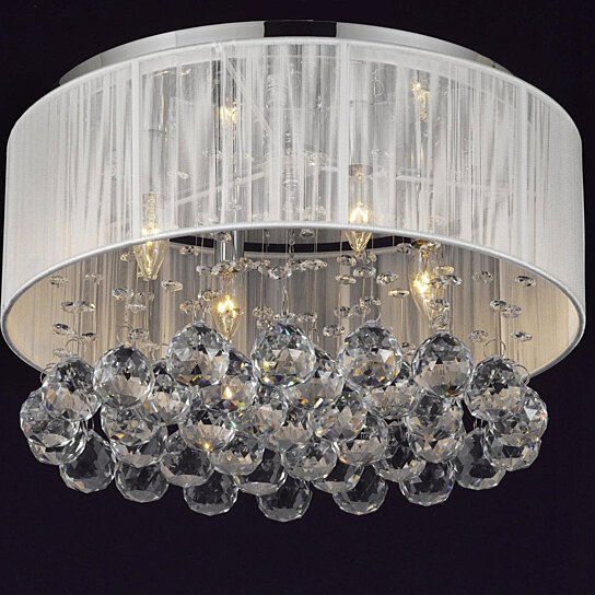 Buy contemporary 4 light flush mount chrome chandelier with white shade and crystal balls 2130 Home decorators collection 4 light chrome flush mount