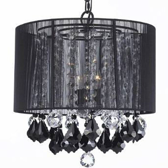 Buy Crystal Chandelier Chandeliers With Large Black Shade Jet Black Crystal Pendants And Clear