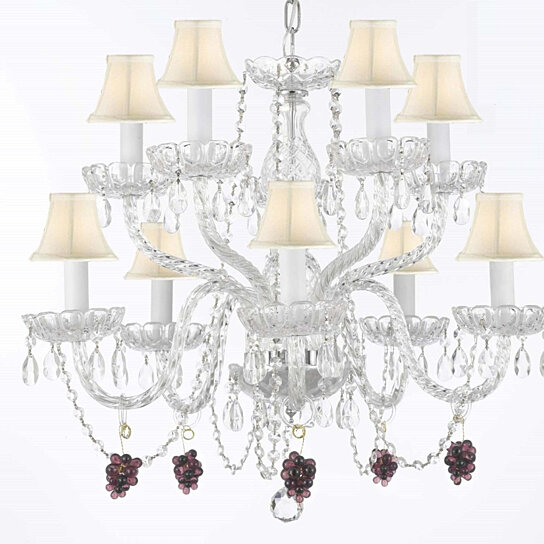 Buy Crystal Chandeliers Dressed With Purple Fruit G S And Shades Swag Plug W Four Feet Of