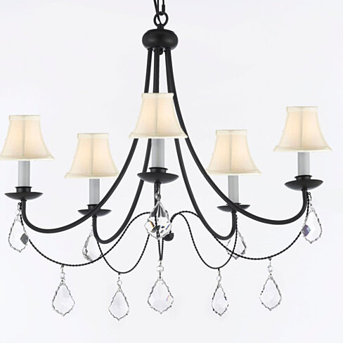 Swag Plug In Wrought Iron Crystal Chandelier