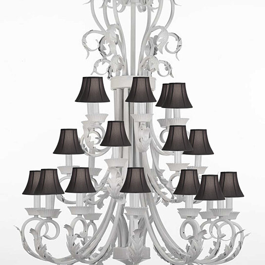 Foyer Chandelier With Shades : Buy foyer entryway white wrought iron chandelier