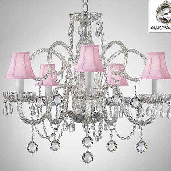 Swarovski Crystal Trimmed Crystal Chandelier With Pink Shades