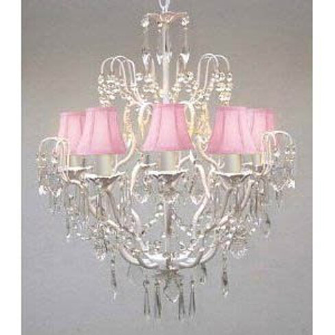 Swarovski Crystal Trimmed White Wrought Iron Crystal Chandelier