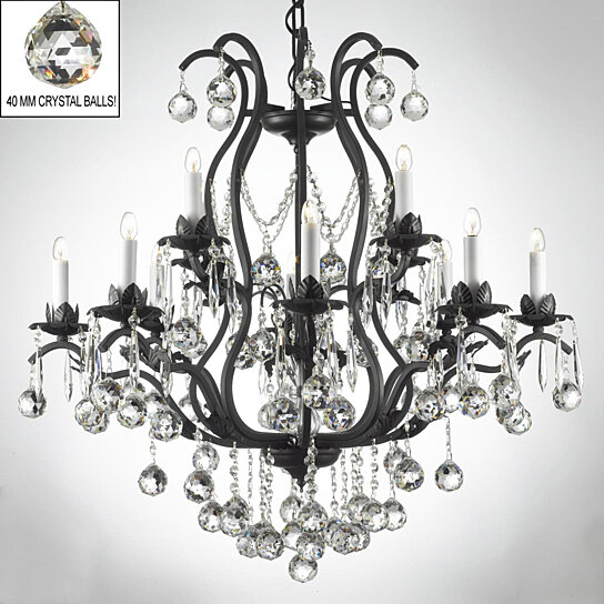 Swarovski Crystal Trimmed Chandelier Wrought Iron Chandeliers Lighting Dressed W A83 B6 3034 8 4 Sw