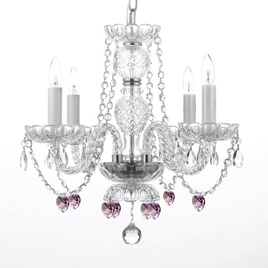 Buy venetian style traditional crystal 4 light chandelier with pink crystal hearts h 17 x w 17 - Popular chandelier styles ...