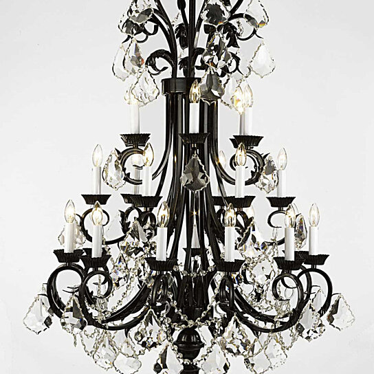 Buy Foyer Chandelier : Buy versailles large wrought iron and crystal light