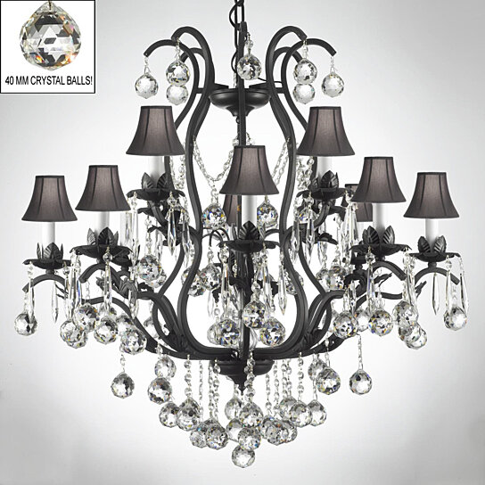 Black Wrought Iron Crystal Chandelier Dressed With Black Shades