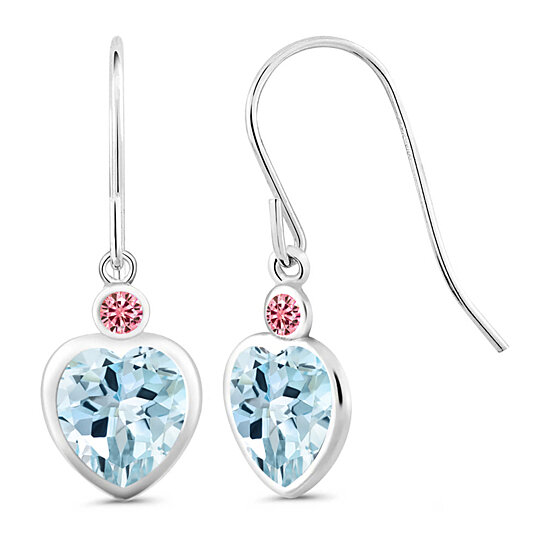 Gem Stone King 1.88 Ct Round Sky Blue Topaz White Created Sapphire 925 Sterling Silver Earrings