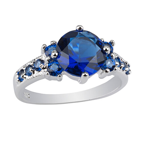 buy 2 33 carat brilliant cut blue sapphire 10k white gold