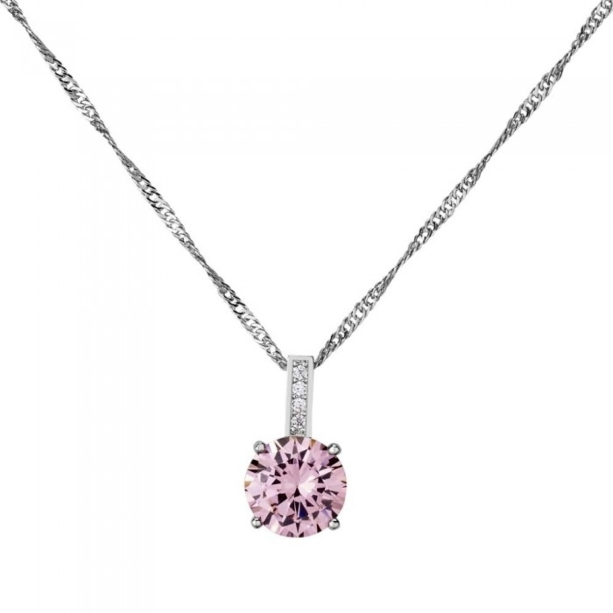 2.33 Carat Brilliant Cut Pink Sapphire 10k White Gold Filled Pendant