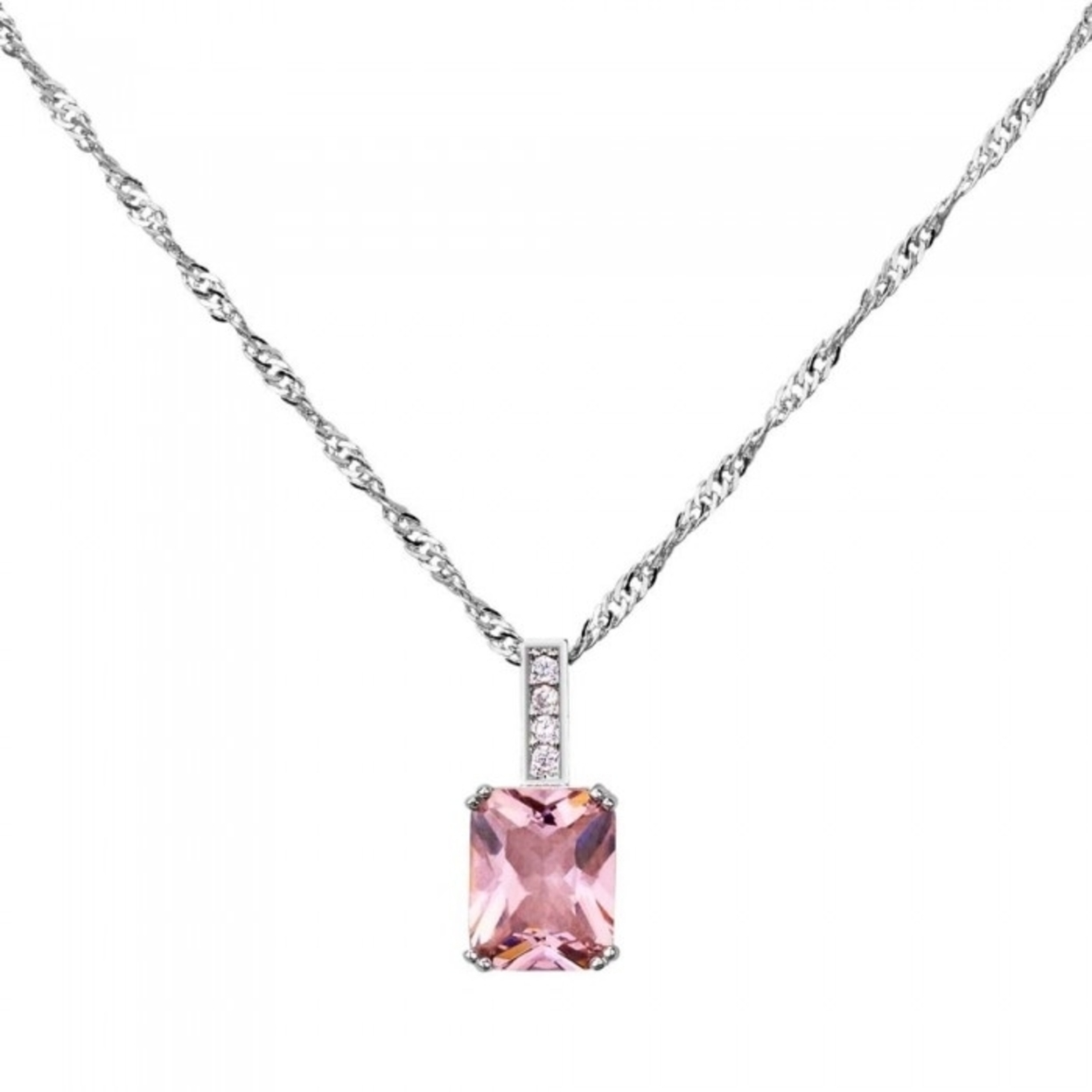 2.33 Carat Emerald Cut Pink Sapphire 10k White Gold Filled Pendant