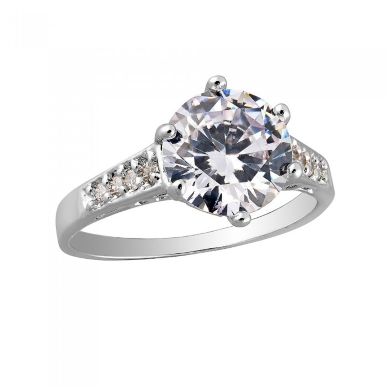2.5 Carat Brilliant Cut Clear Sapphire White Gold Filled Ring Size K 16mm