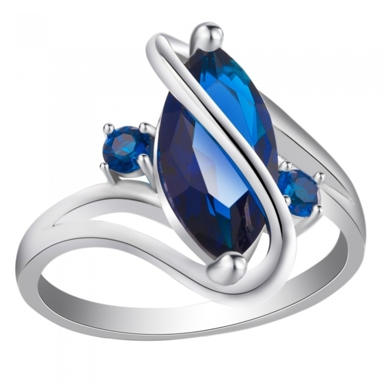2.5 Carat Marquis Cut Blue Sapphire 10k White Gold Filled Ring Size K 16mm
