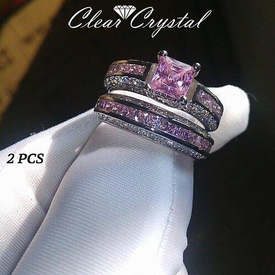 buy 2 5 carat pink sapphire princess cut 10k white gold