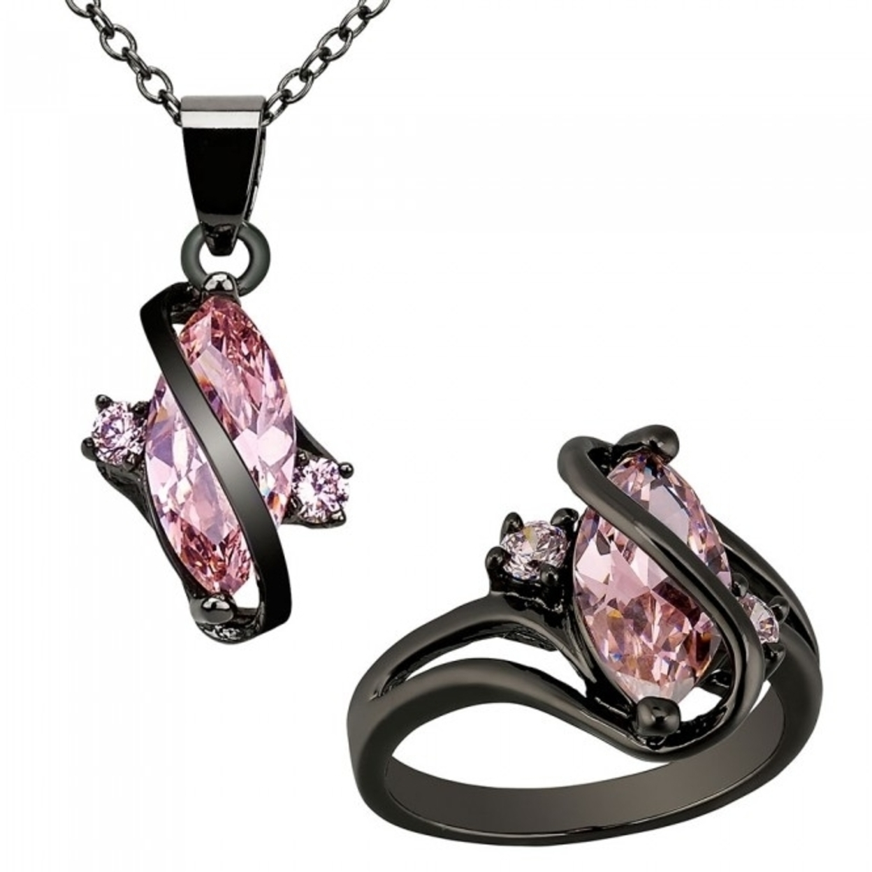 5.0 Carat Marquis Cut Pink Sapphire 10k Black Gold Filled Pendant & Ring Set Size-k-16mm-cc261-cc296