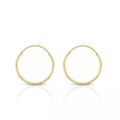 Mia Diamonds 14k Yellow Gold Polished Textured Small Round Hoop Earrings