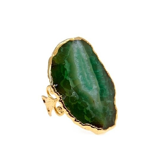 buy emerald gemstone adjustable ring 24k plated by