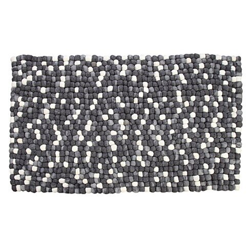 Amala Handmade Wool Felt Pebble Rug, Grey