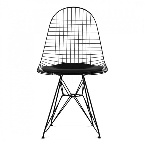 DKR Eiffel Wire Side Chair, Black Wire