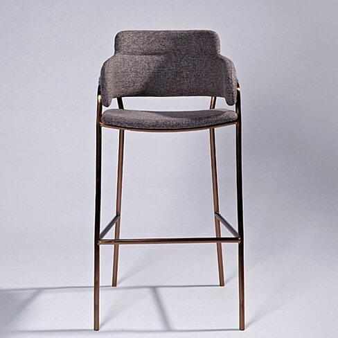 Lara Bar Stool, Grey Fabric, Rose Gold Base
