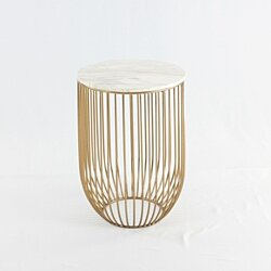 Mie Side Table, Carrara Marble Top & Gold Base