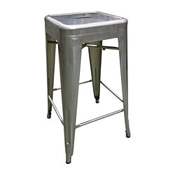 Tolix Style Bar Stool, Galvanized