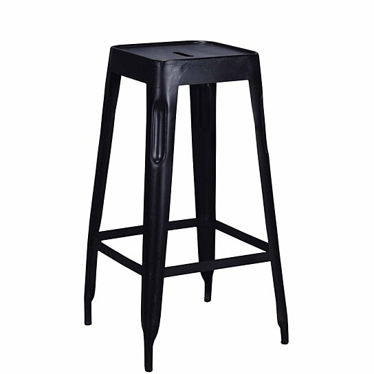 Surprising Tolix Style Industrial Bar Stool Black Distressed Ncnpc Chair Design For Home Ncnpcorg