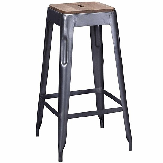 Fine Tolix Style Industrial Bar Stool Grey Distressed With Wooden Seat Dailytribune Chair Design For Home Dailytribuneorg