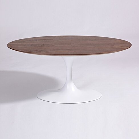 Tulip Oval Coffee Table Mid-Century, Wood Top