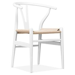 Wishbone Y Chair, White & Natural Cord