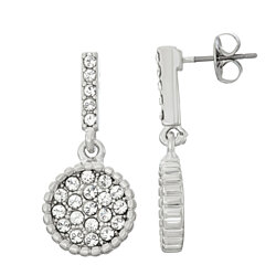 Circle Shape White Pave Crystal Filled Dangle Earrings