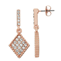 Diamond Shape White Pave Crystal Filled Dangle Earrings