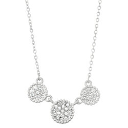 Triple Circle White Pave Crystal Filled Pendant Necklace