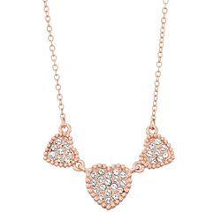 Triple Heart White Pave Crystal Filled Pendant Necklace