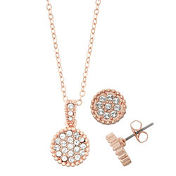 White Pave Crystal Filled Circle Necklace and Earring Set