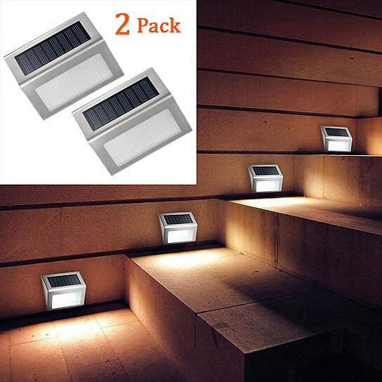 Buy 2 Pack 3 LED Solar Powered Stair Lights Outdoor Lighting For Steps  Paths Patio Decks By GiftStores On OpenSky