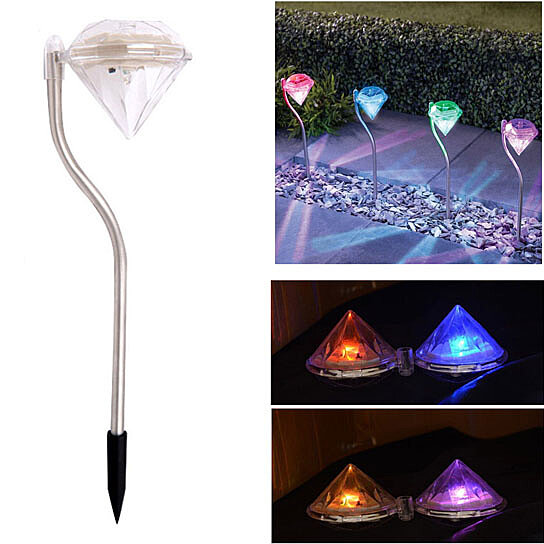 4 Pack Solar Garden Lights Outdoor - Color Changing Diamond LED Solar  Landscape Pathway Lights