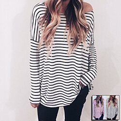 Off-Shoulder Pullover Top in Striped