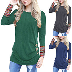 Aztec Sleeve Solid Long Shirt